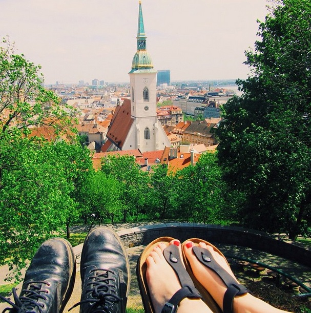 Aydin + Caroline watching Bratislava from the castle