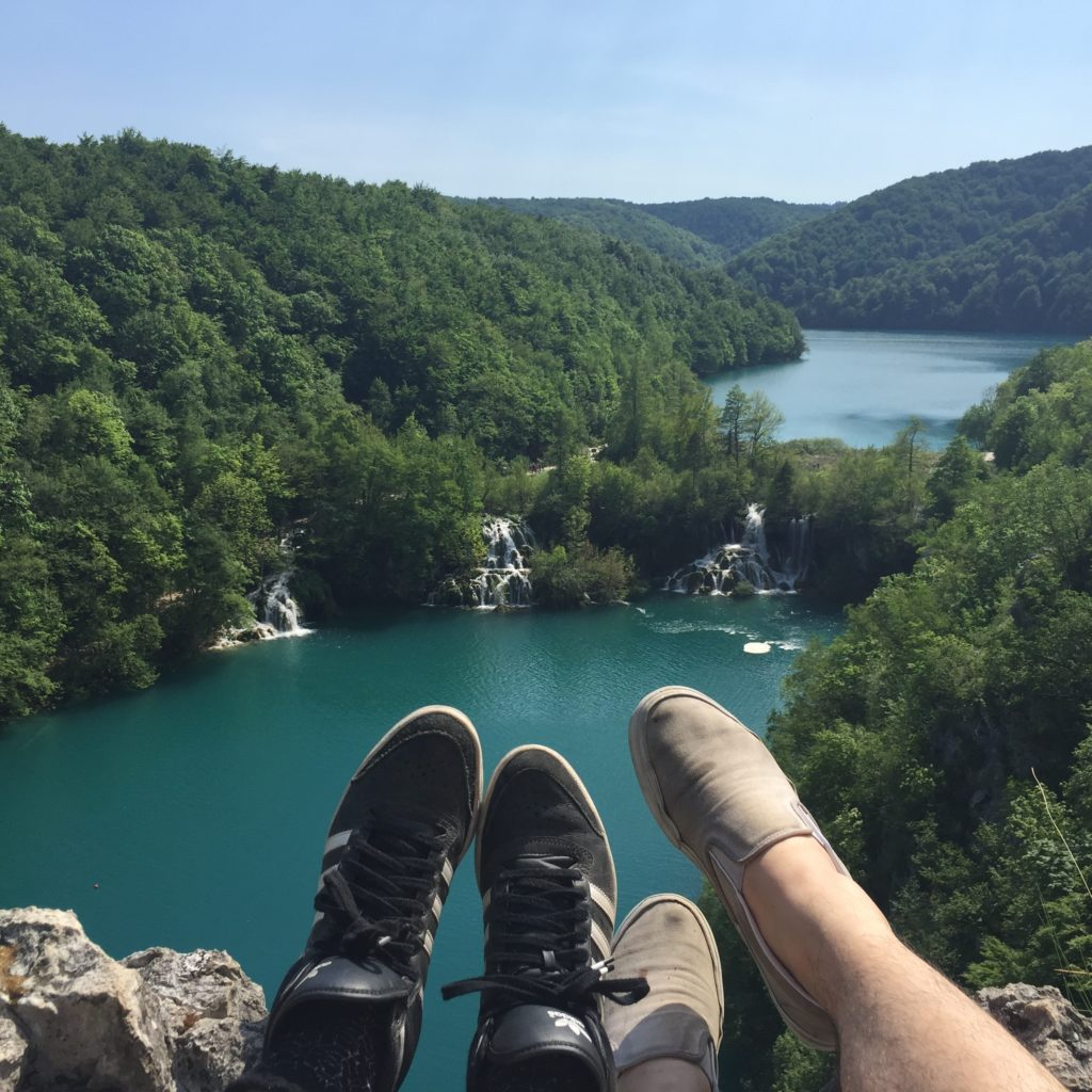 Aydin + Caroline soaking up the sunshine at Plitvice lakes