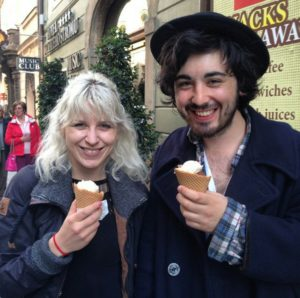 Aydin and Caroline eating ice cream in Prague shortly after we met
