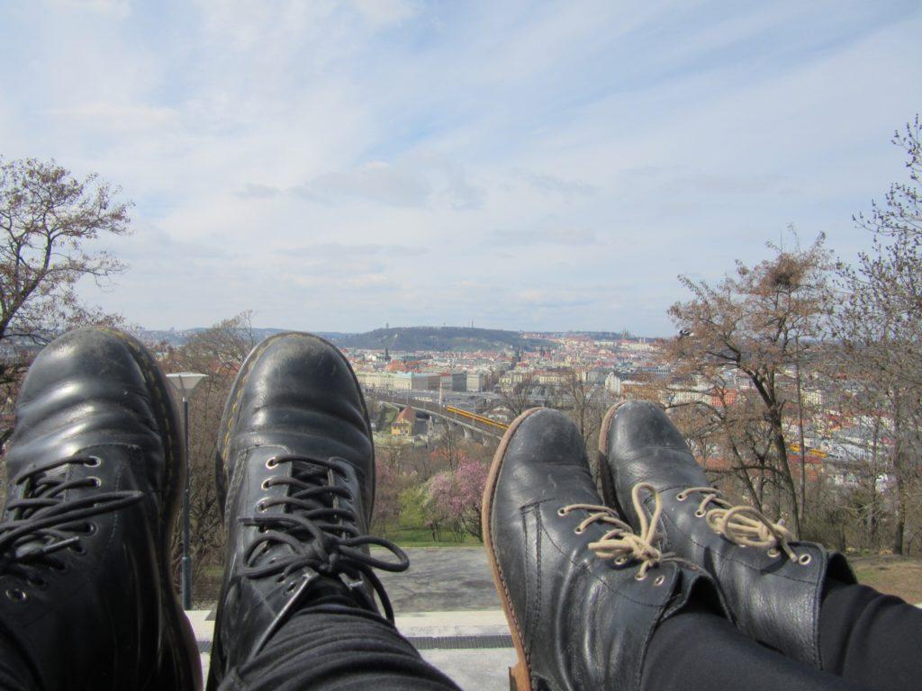 Aydin + Caroline sitting above Bratislava