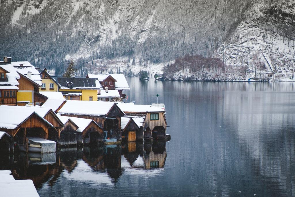 Wooden boat houses in Hallstatt
