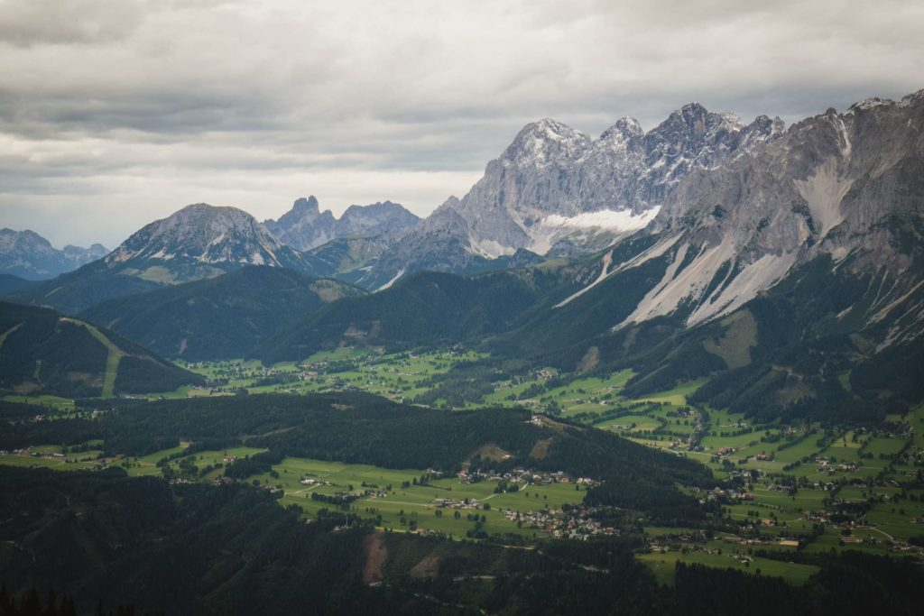 Schladming and the surrounding valley with the towering Dachstein mountains in the background