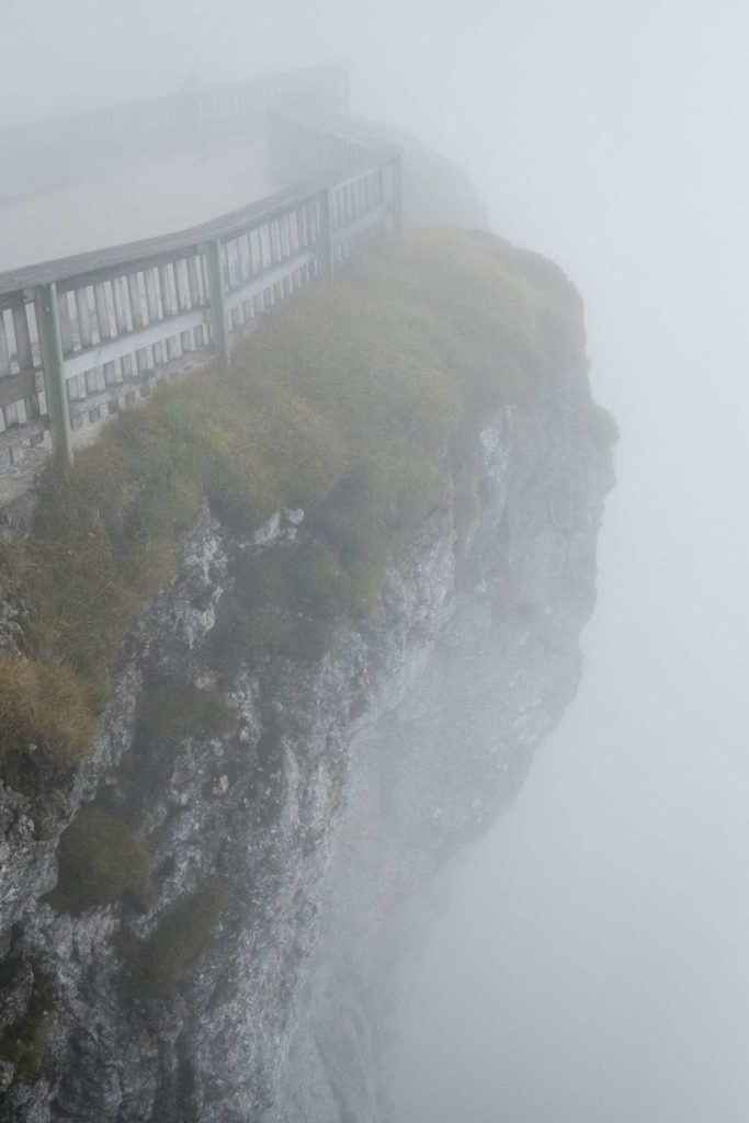Looking over the top of foggy Schafberg
