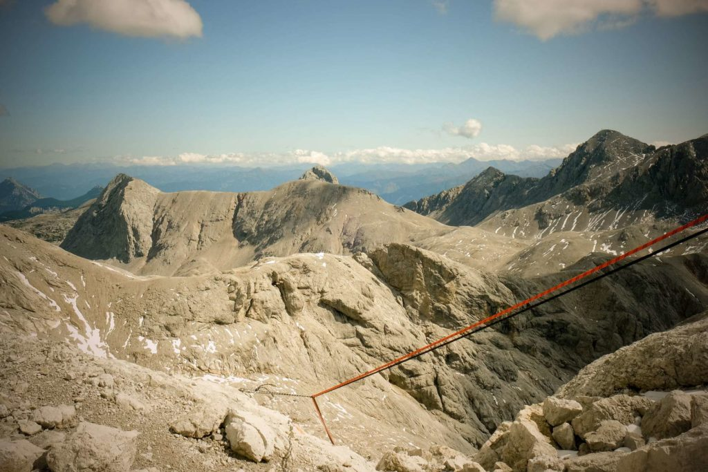 View of vertical ropes close to the Dachstein ridge