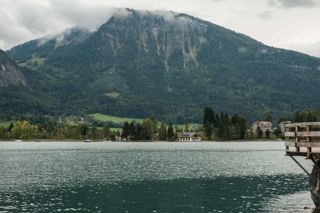 View over Wolfgangsee from the boardwalk with mountains in the background