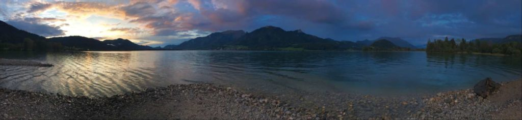 Wolfgangsee sunset panorama from a secret beach