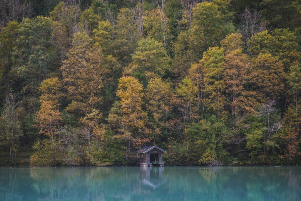 A small wooden boathouse reflects in Klamsee with autumn coloured trees surrounding
