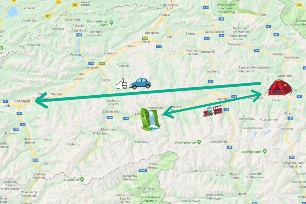 Map showing our complicated journey from Kaprun to Innsbruck via Krimml
