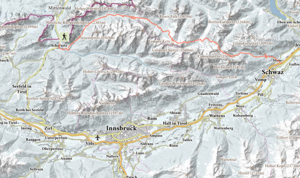 Map of our hike relative to Innsbruck