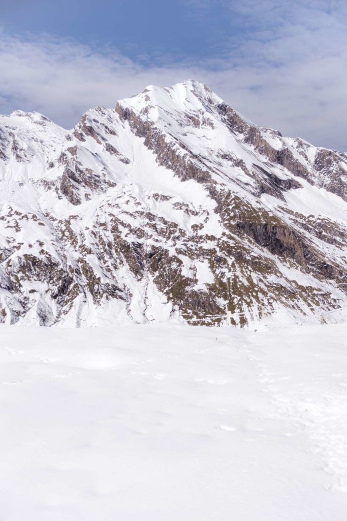 Snowy kitzsteinhorn from stausee Mooserboden