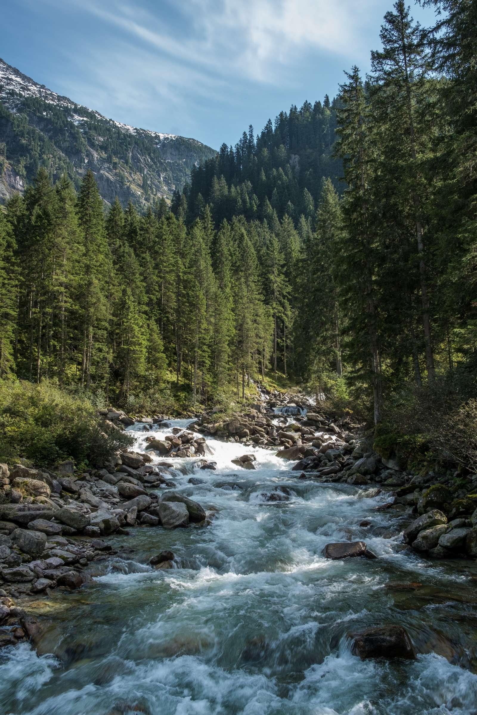 Krimml river gushing through the mountains