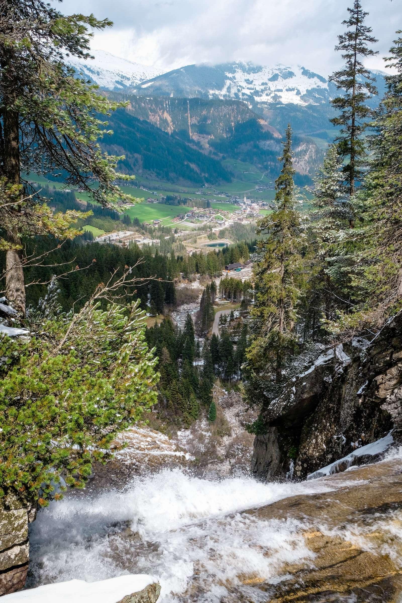 Looking over the top of Krimml waterfalls to the valley below
