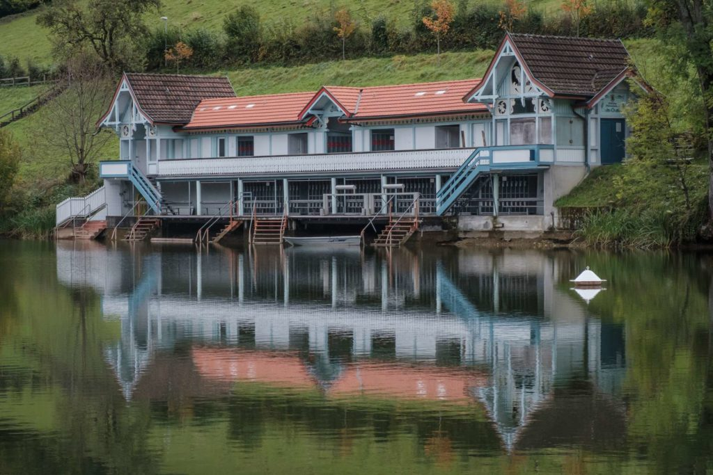 Vintage boat house at Drei Weieren in St. Gallen