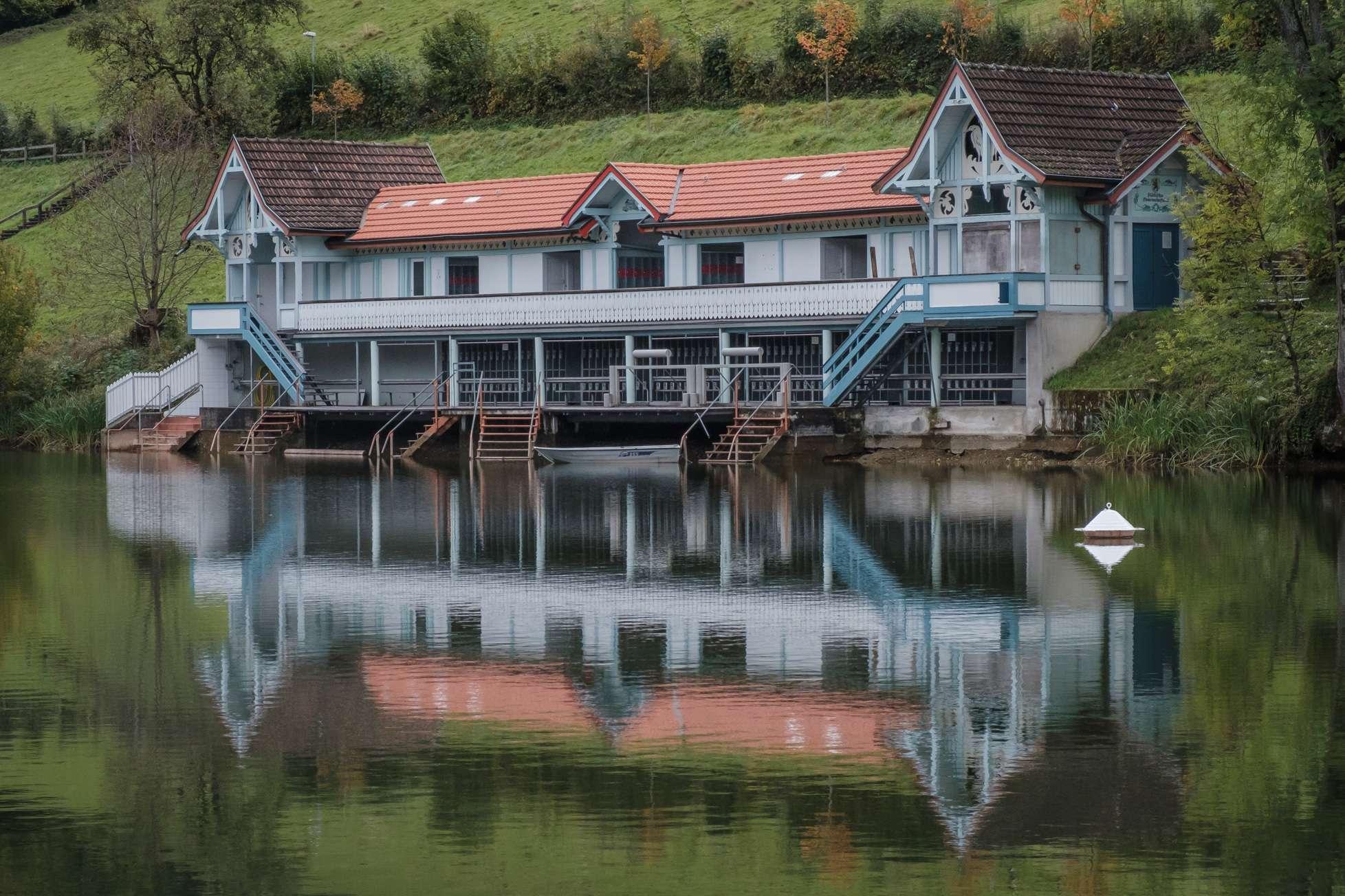 Vintage boat house at Drei Weieren in St. Gallen