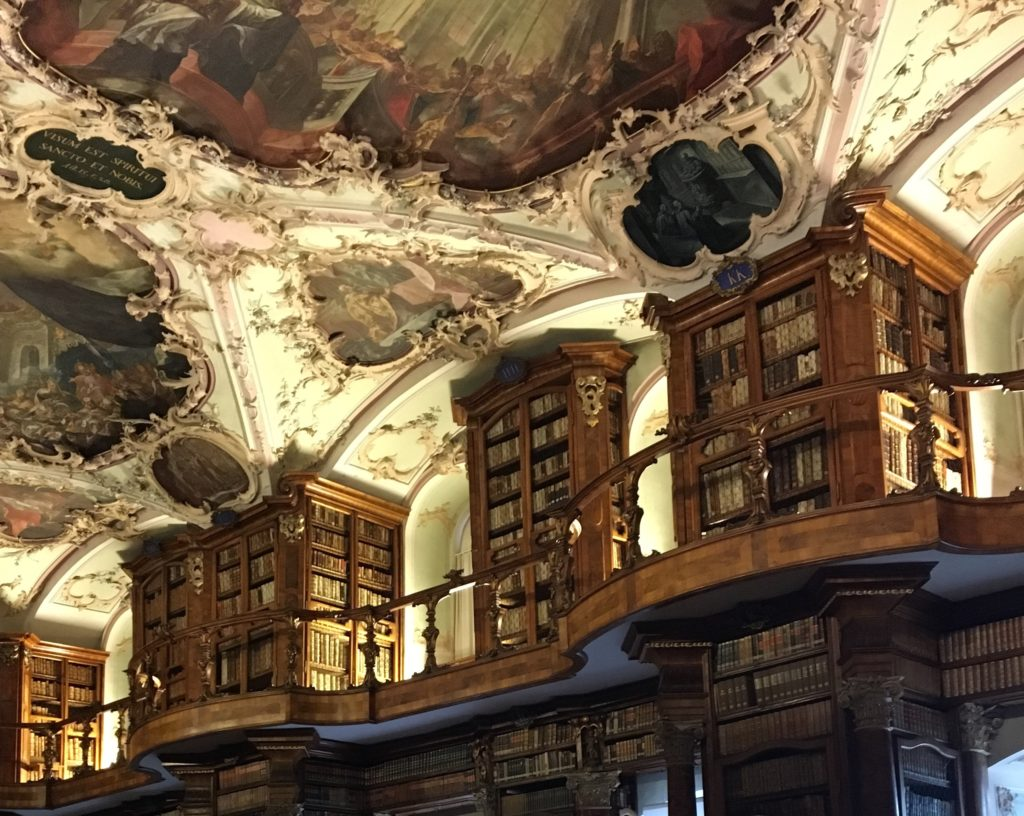 Stunning wooden bookshelves at abbey library St. Gallen