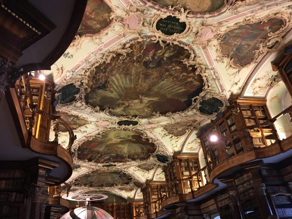 Marvellous painted and decorated ceiling at abbey library St. Gallen