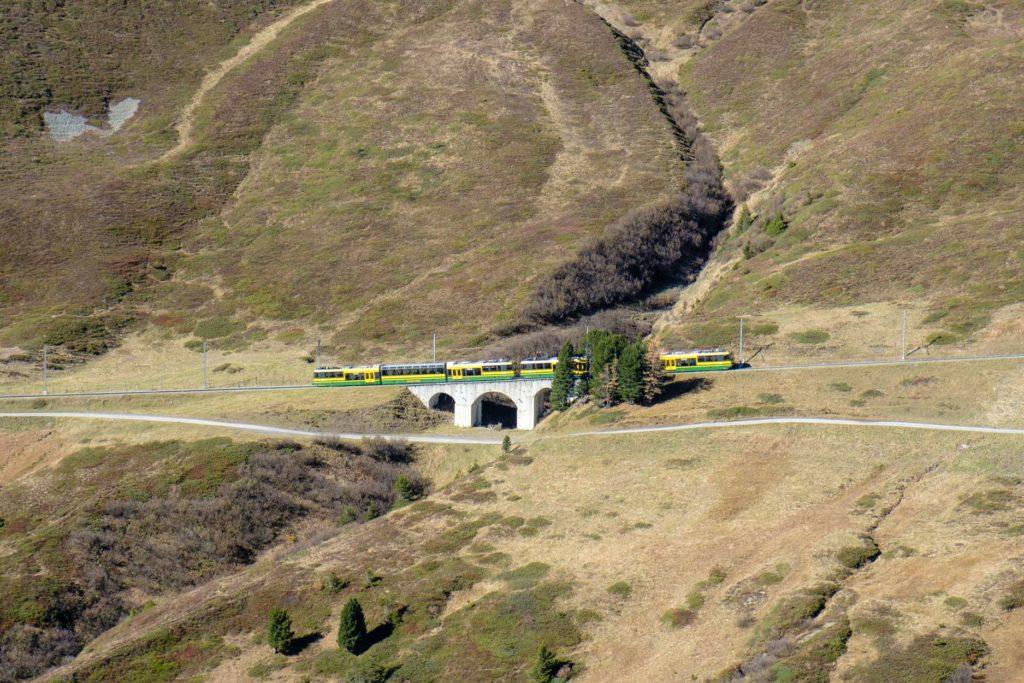 A green and yellow train from Kleine Scheidegg
