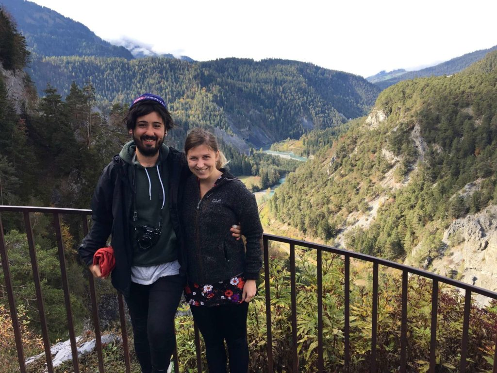 Caroline and Aydin over the Ruinaulta in Switzerland