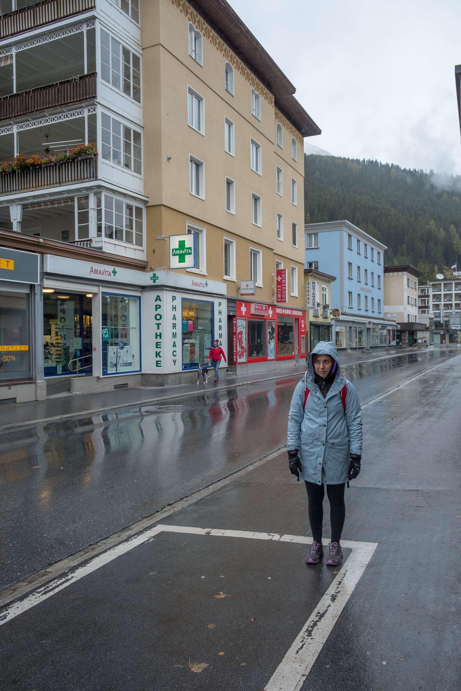 Caroline look glum in wet moody Davos