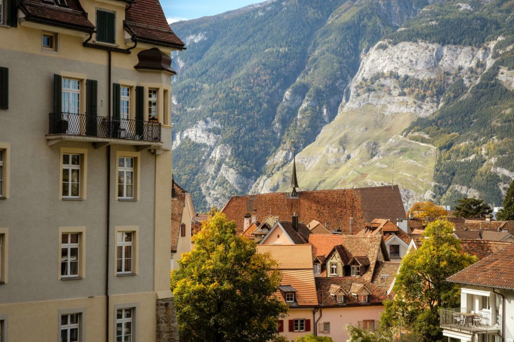 Close up shot of old town Chur with roofs and spires