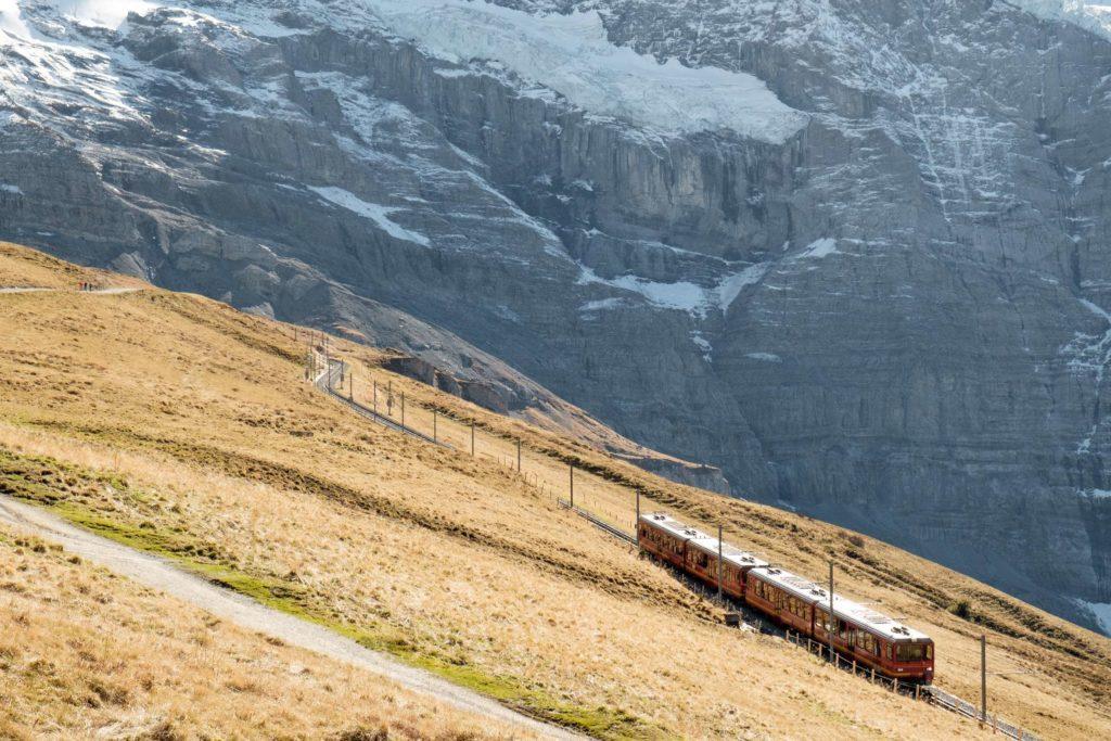Jungfrau train leaving Kleine Scheidegg