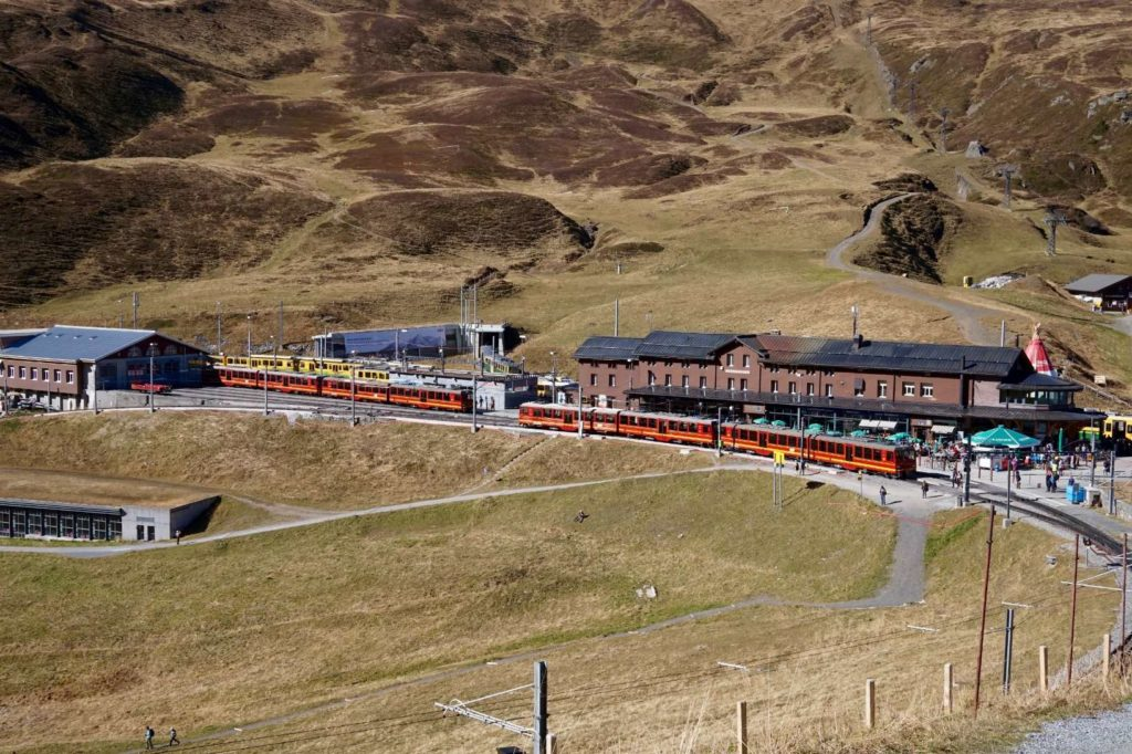 Kleine Scheidegg train station from a distance