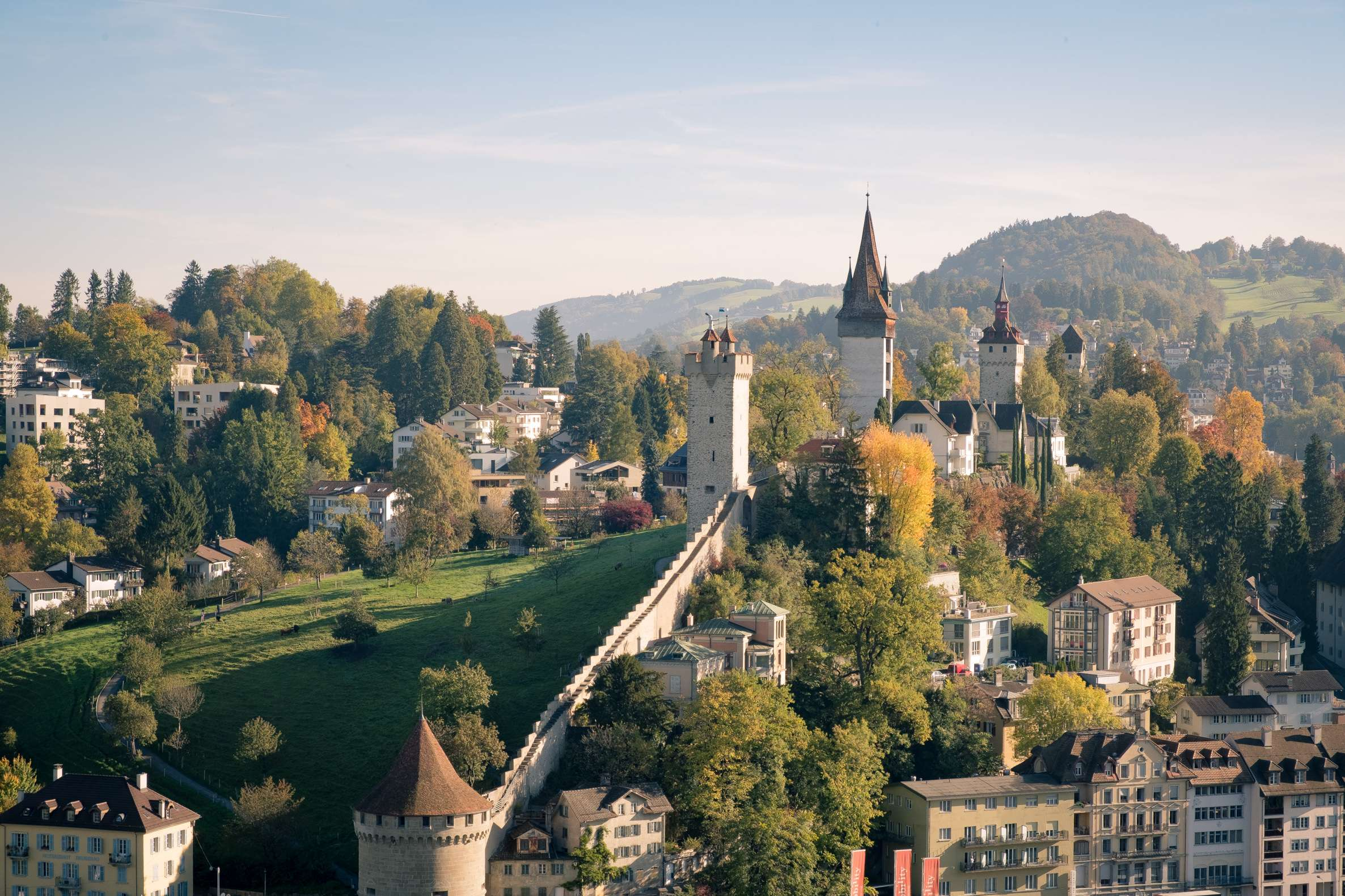 Looking over Lucerne castle in the morning