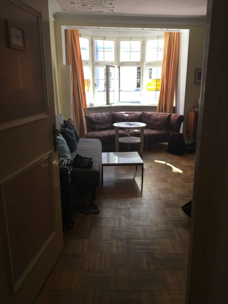 The hostel common area