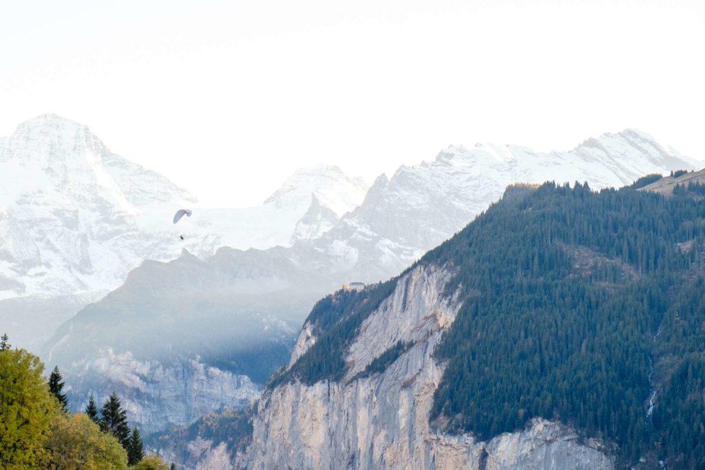 A paraglider in the Lauterbrunnen valley