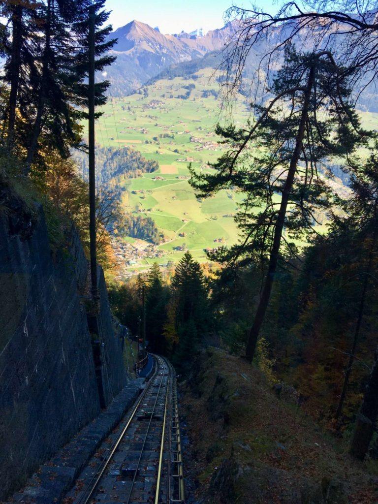 Steeper view of the track from the Niesenbahn
