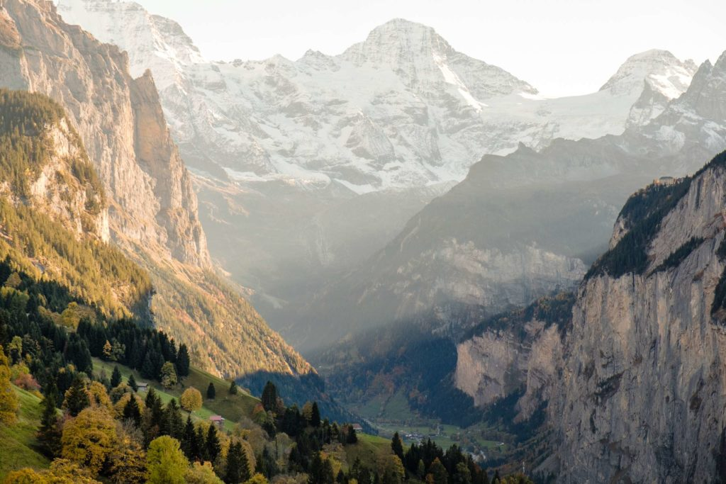Sunset from Wengen in to Lauterbrunnen valley