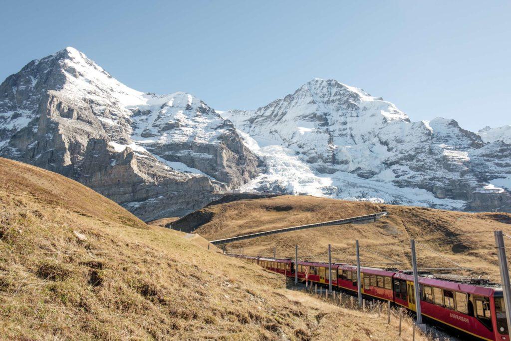 The Jungfrau train twisting through the mountains