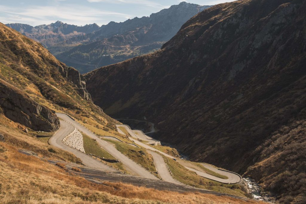 A bendy old road on Gotthard Pass. Typical of mountain passes in Switzerland