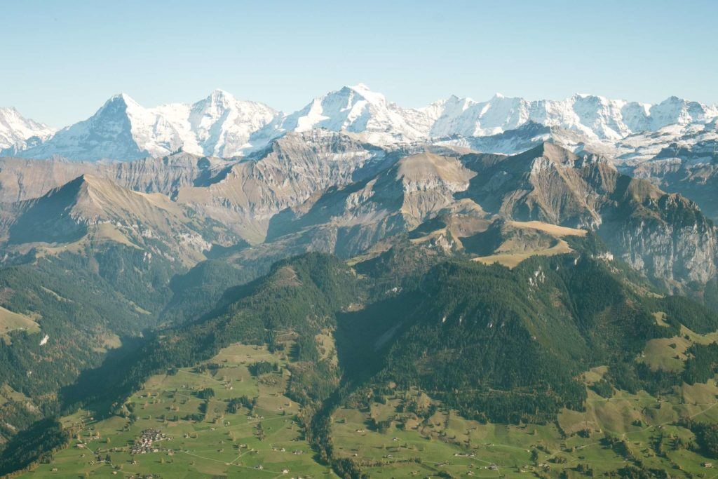 The view of the snow capped Jungfrau peaks from Niesen