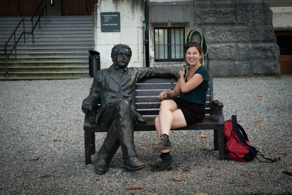 Caroline with Einstein