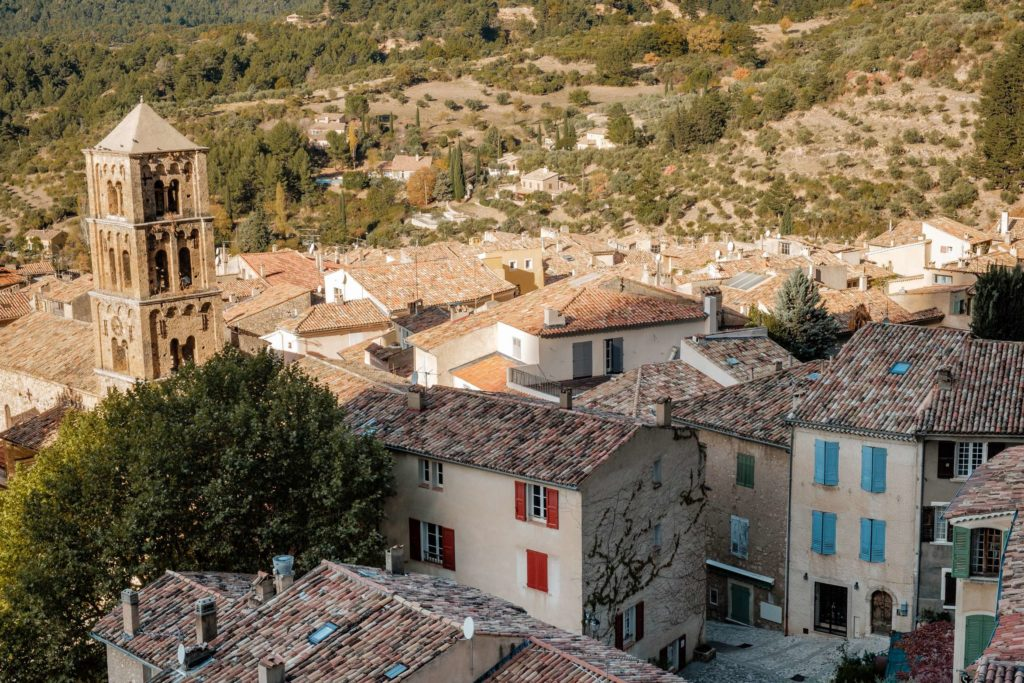 Closeup of Moustiers-Sainte-Marie with church tower