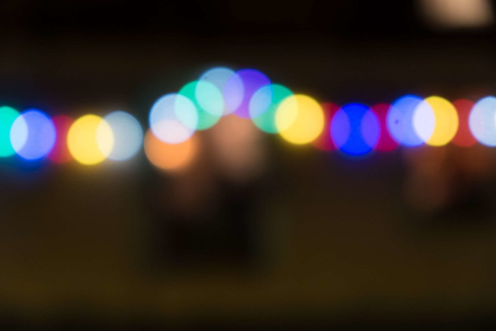 Out of focus lights from a restaurant