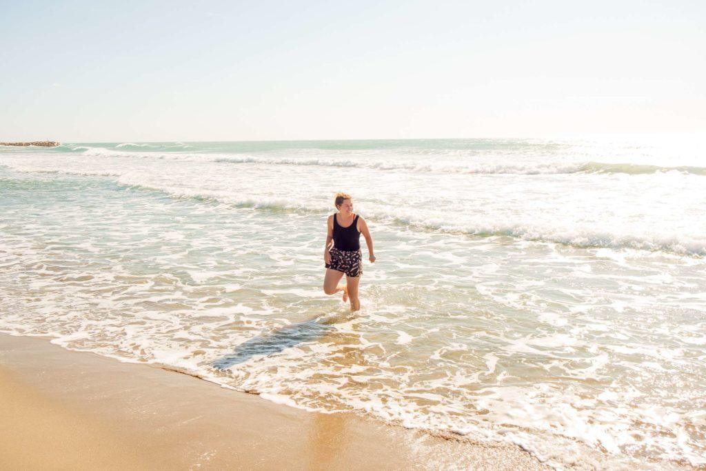 Caroline happy in the sea