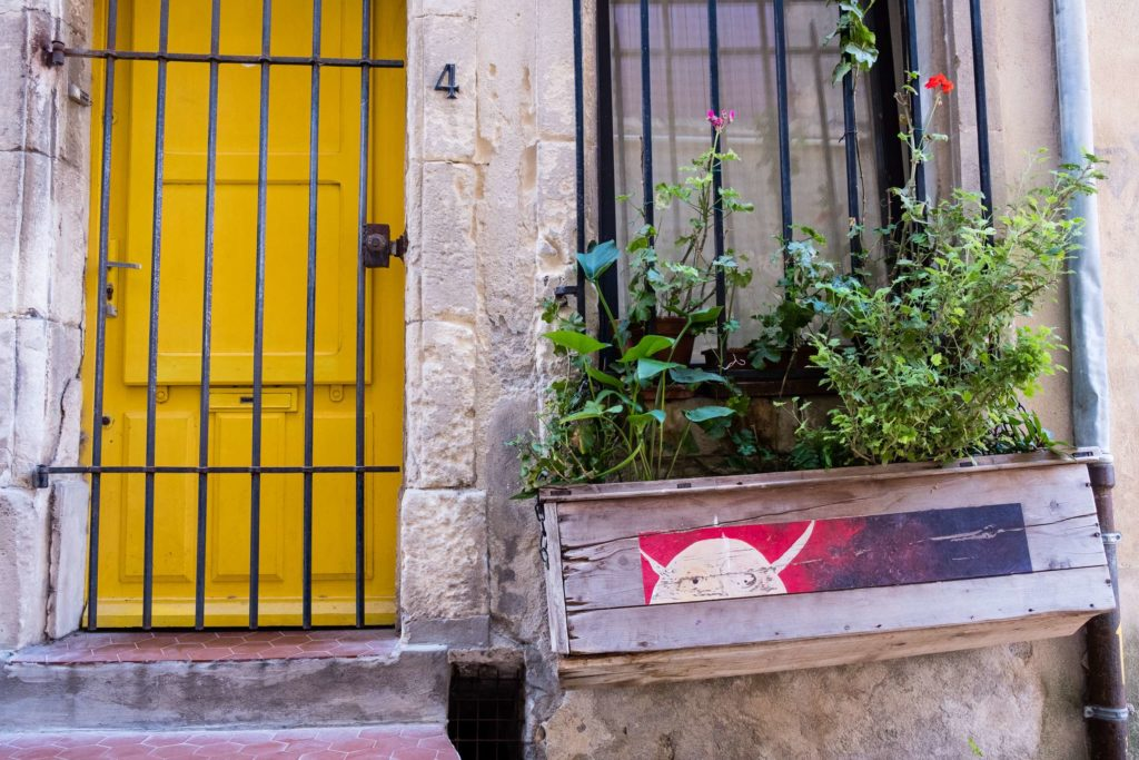 Cute plant box in front of Arles home