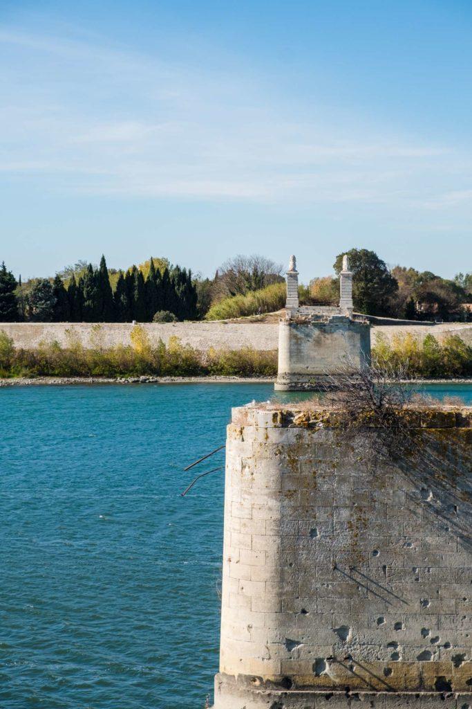 Remains of old bridge across the Rhône