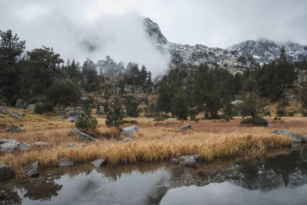 Still river mountain scene with meadows of orange grass