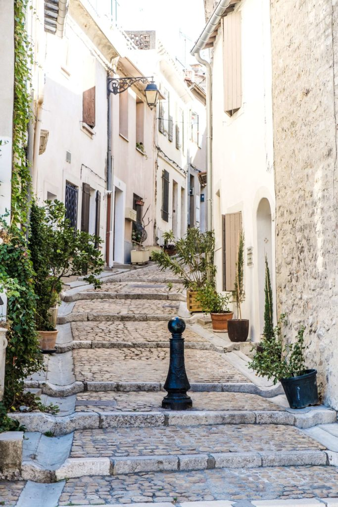 Winding cobbled street in Arles