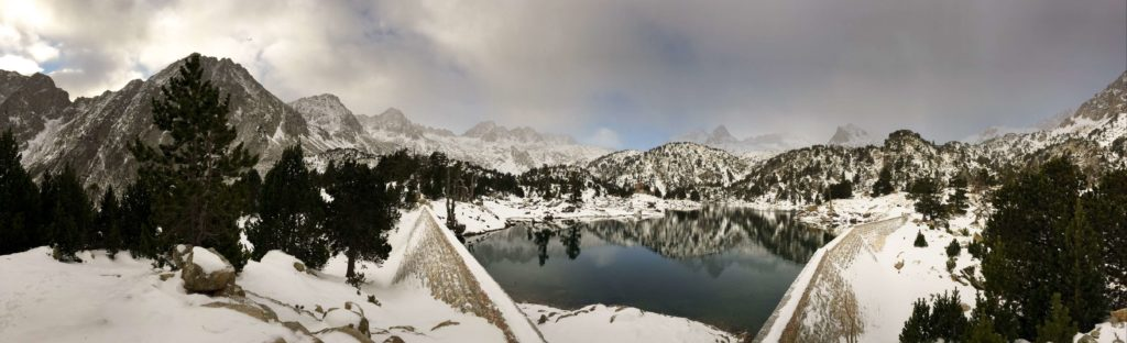 Lake Trullo mountain panorama