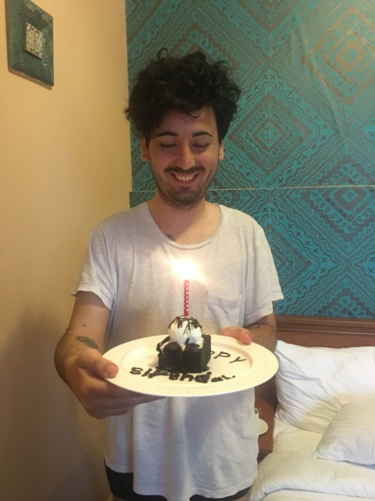 Aydin in Borjomi with his birthday brownie