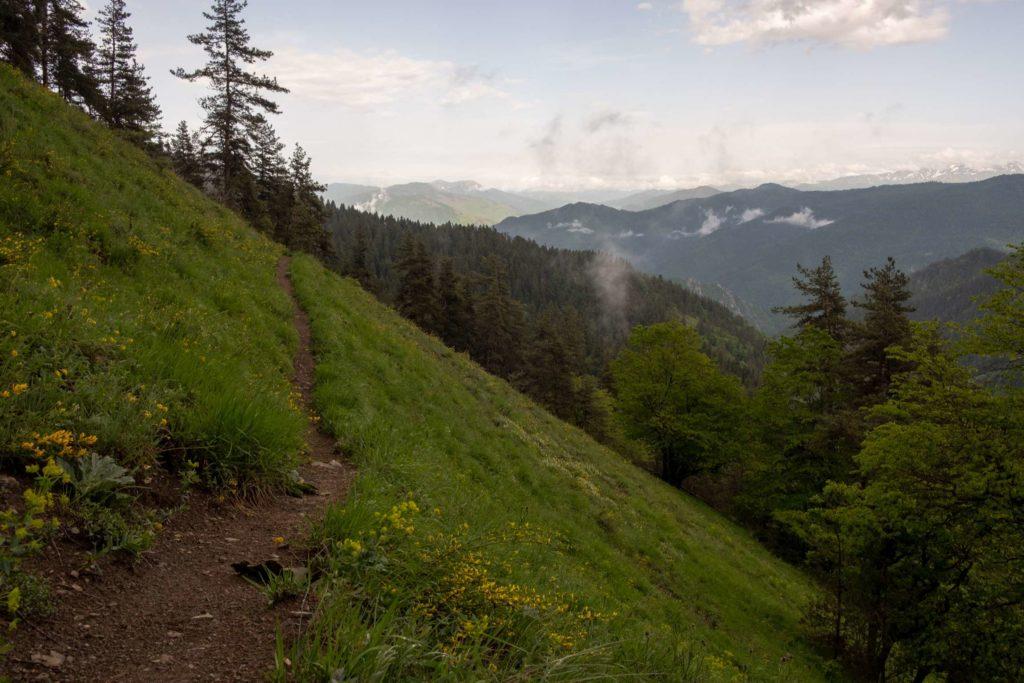 Steep slope, Caroline on footprint trail Borjomi National Park, Samtskhe-Javakheti