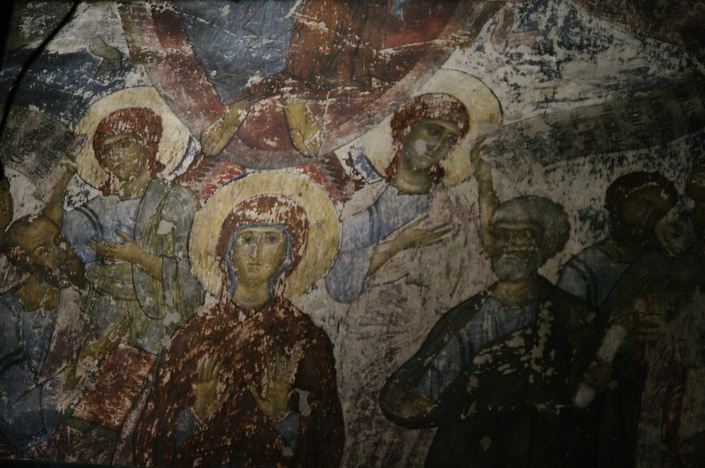Close-up shot of frescoes in the Church of Assumption, Vardzia