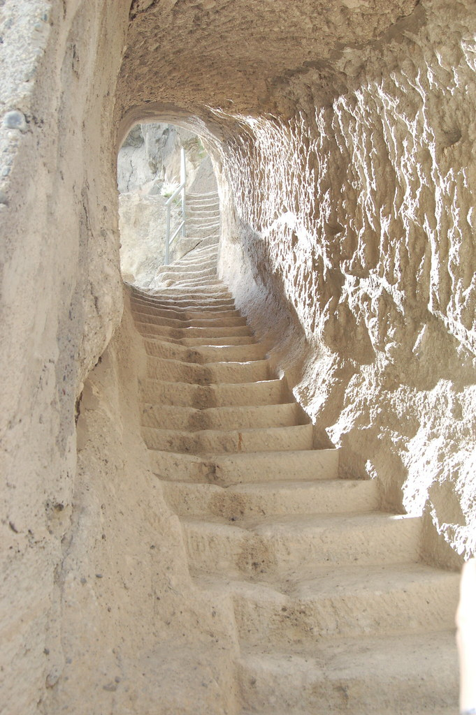 A staircase in the Vardzia cave complex