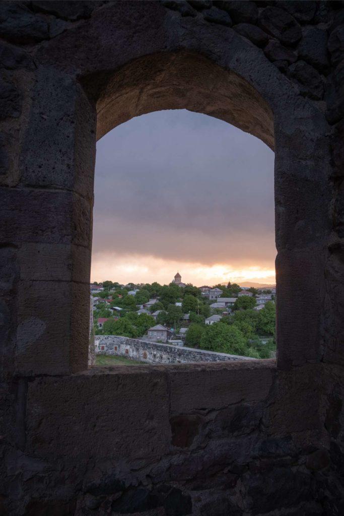View from Rabati Castle through a window on Akhaltsikhe, Samtskhe-Javakheti