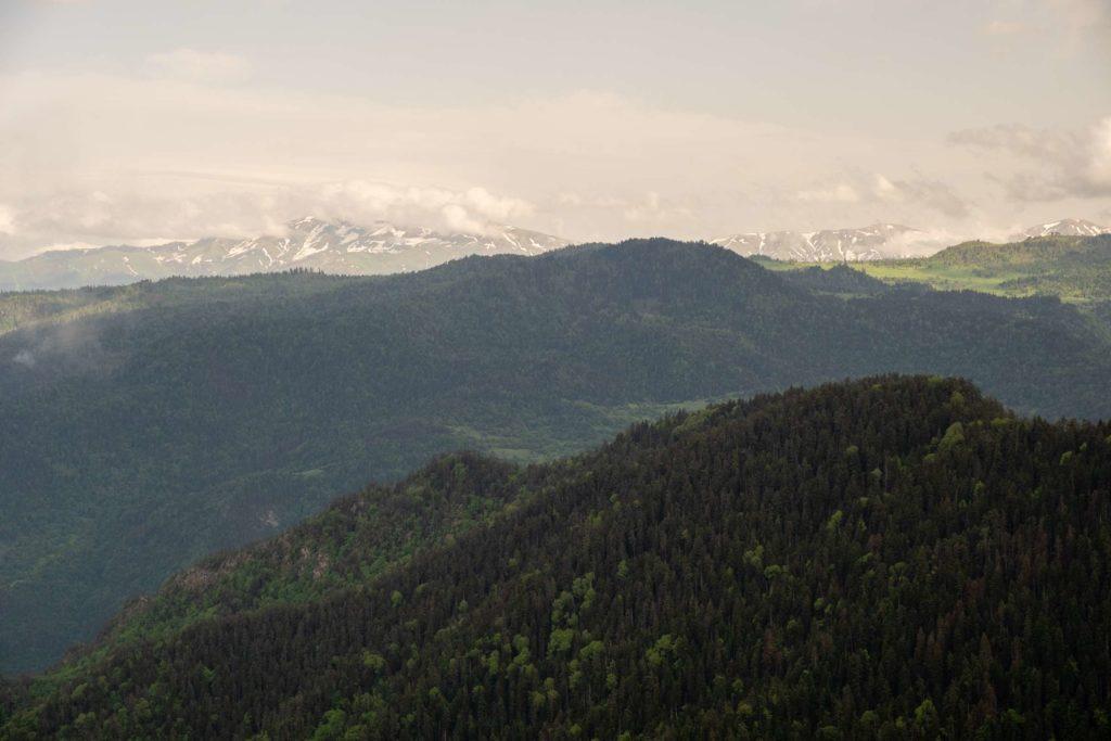 Views on Steep slope, Caroline on Samtskhe-Javakheti from footprint trail, Borjomi National Park,