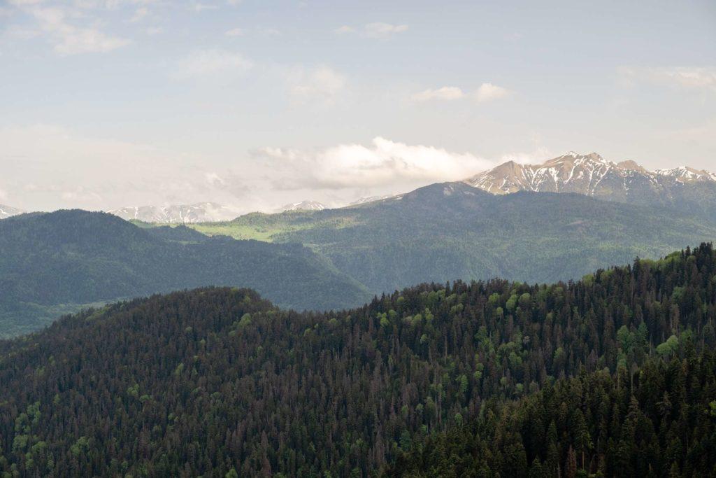 Views on Steep slope, Caroline on Samtskhe-Javakheti from footprint trail, Borjomi National Park 2,